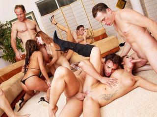 Hot pornstars serve men in orgy