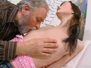 Jenya worships the attention she gets from this dirty elder man. He finishes up boning this youthful babe.
